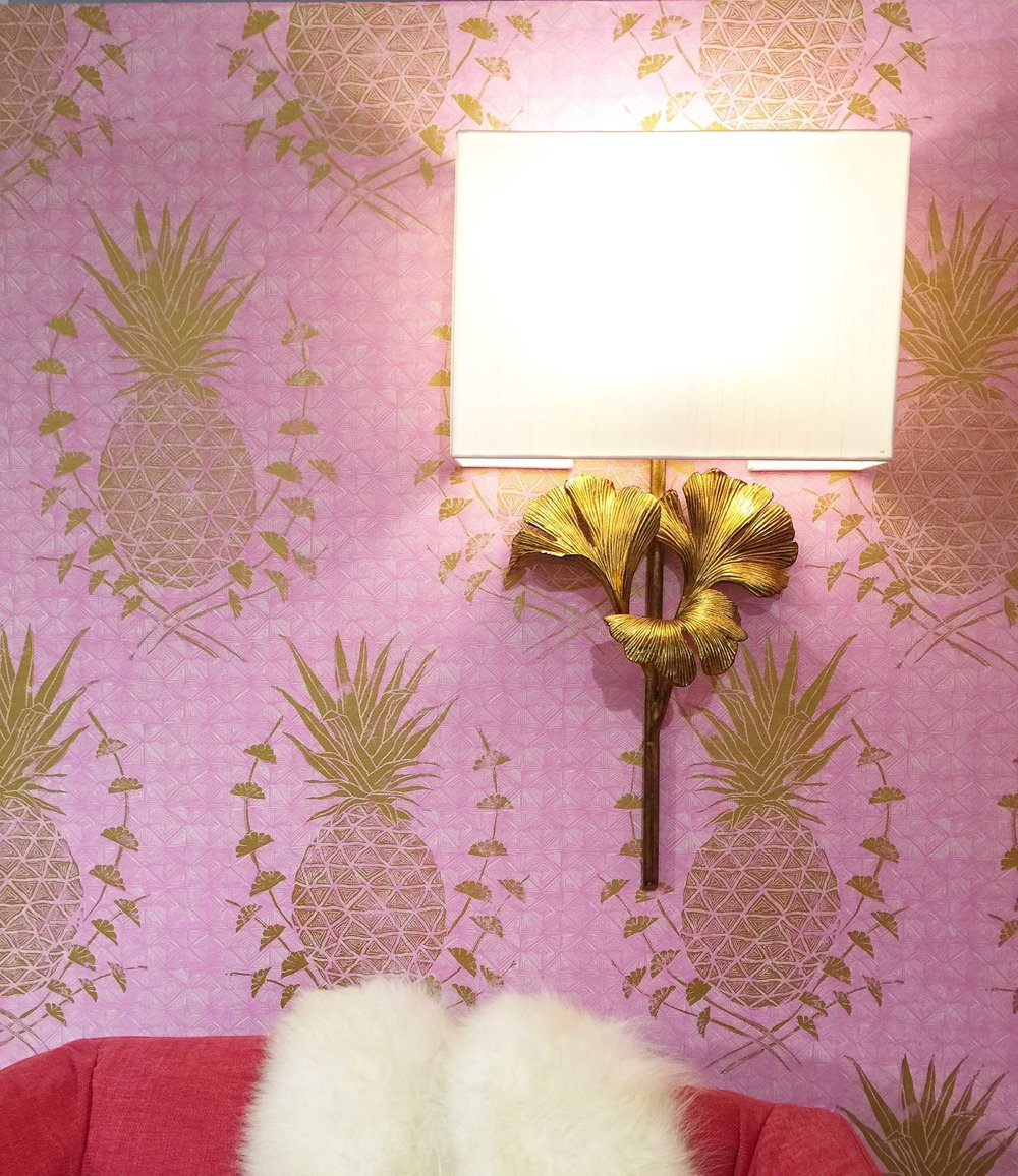 Royal Pineapple Wallpaper in Pink, Interiors by Heather Roberts