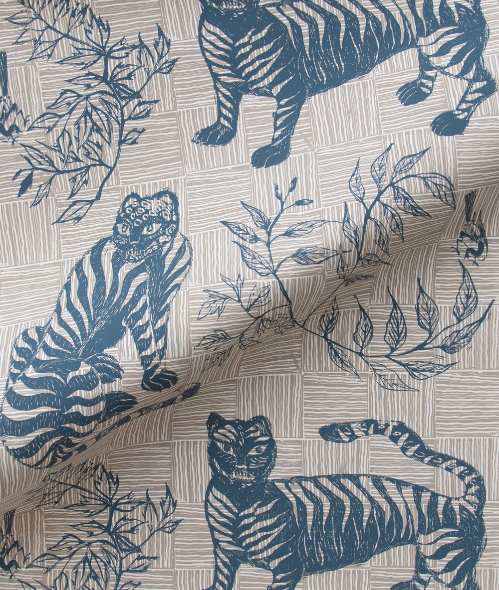 Krane Home_Tiger and Magpie Deep Blue Wallpaper-3.jpeg