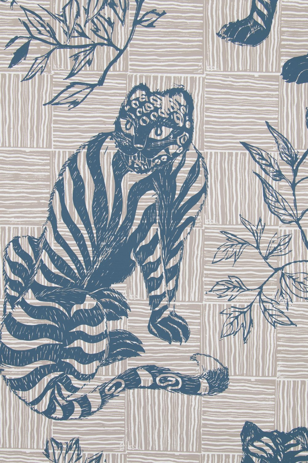 Tiger & Magpie in Deep Blue, SL220-01