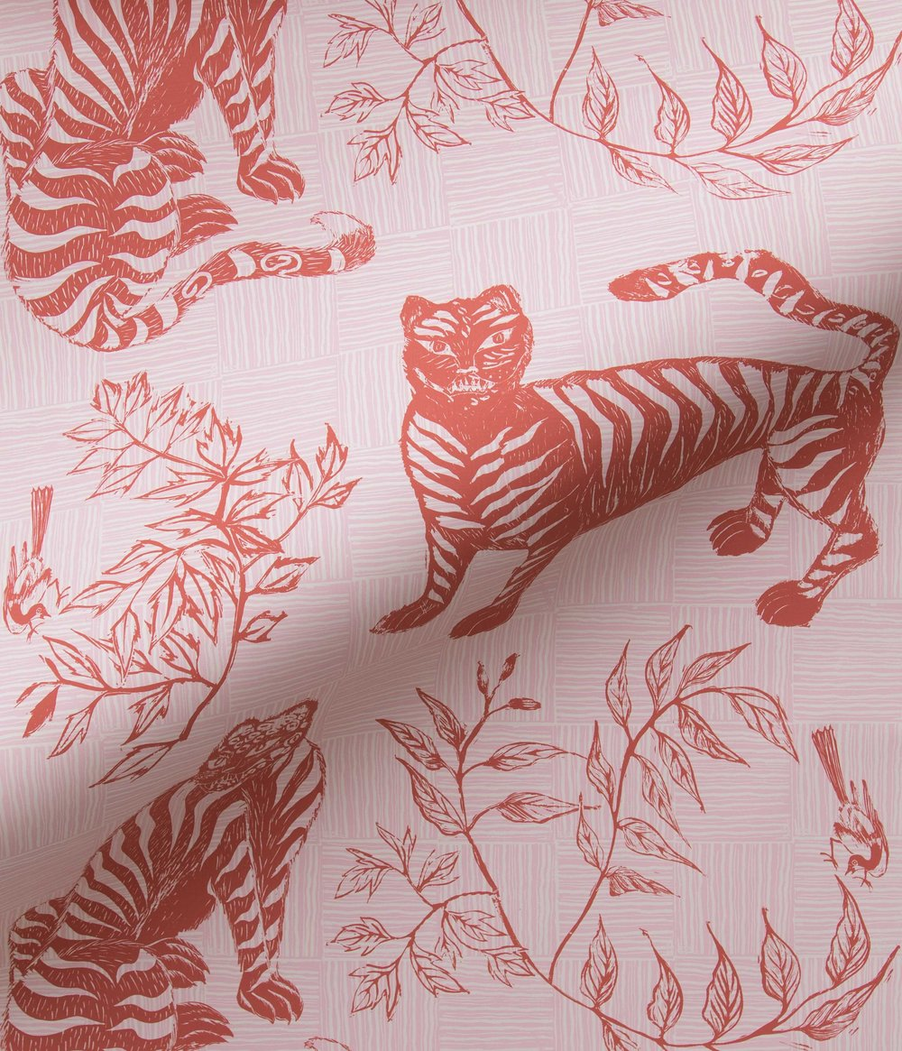Krane Home_Tiger and Magpie Carmine Wallpaper-3.jpeg