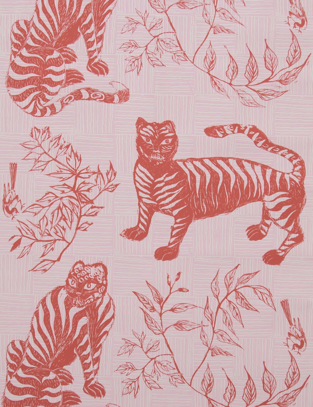 Krane Home_Tiger and Magpie Carmine Wallpaper-1.jpeg