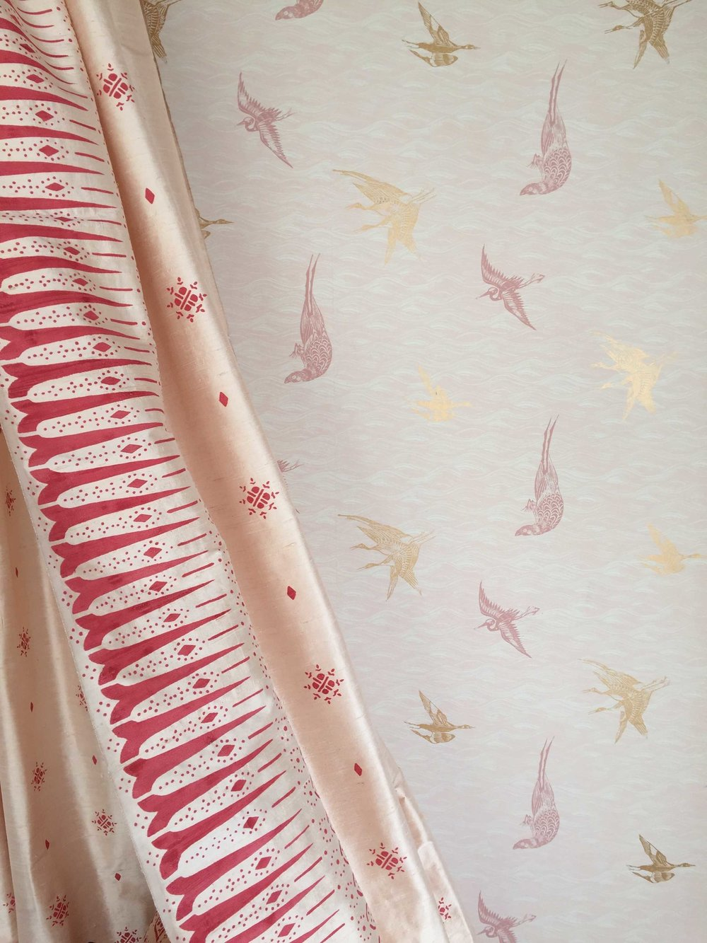 Birds Wallpaper in custom Blush, Interiors by Young Huh