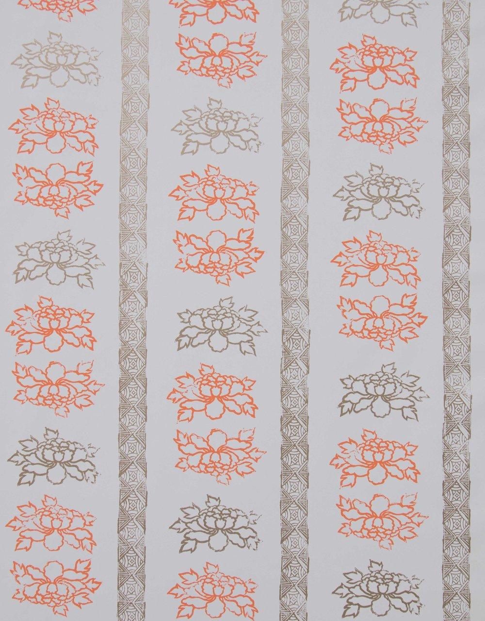 Floral Stripe in Tangerine, SL140-01