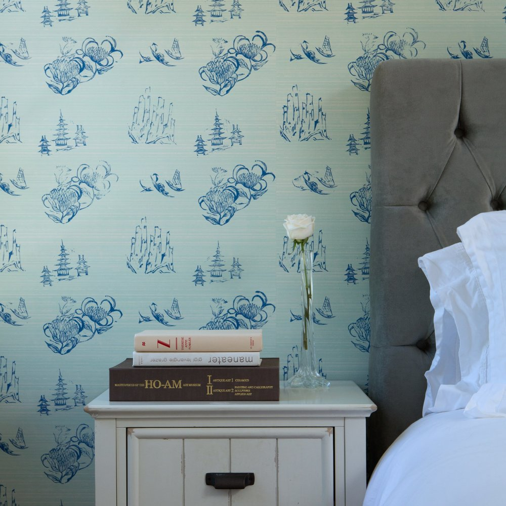 Toile Wallpaper in Mint, Photo by Benjamin Hoffman