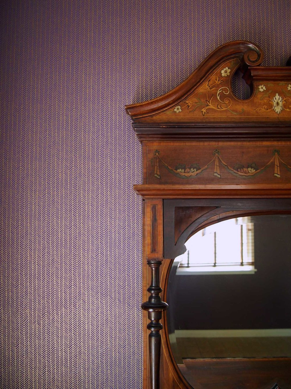 Herringbone Wallpaper in Amethyst, Photo by Benjamin Hoffman