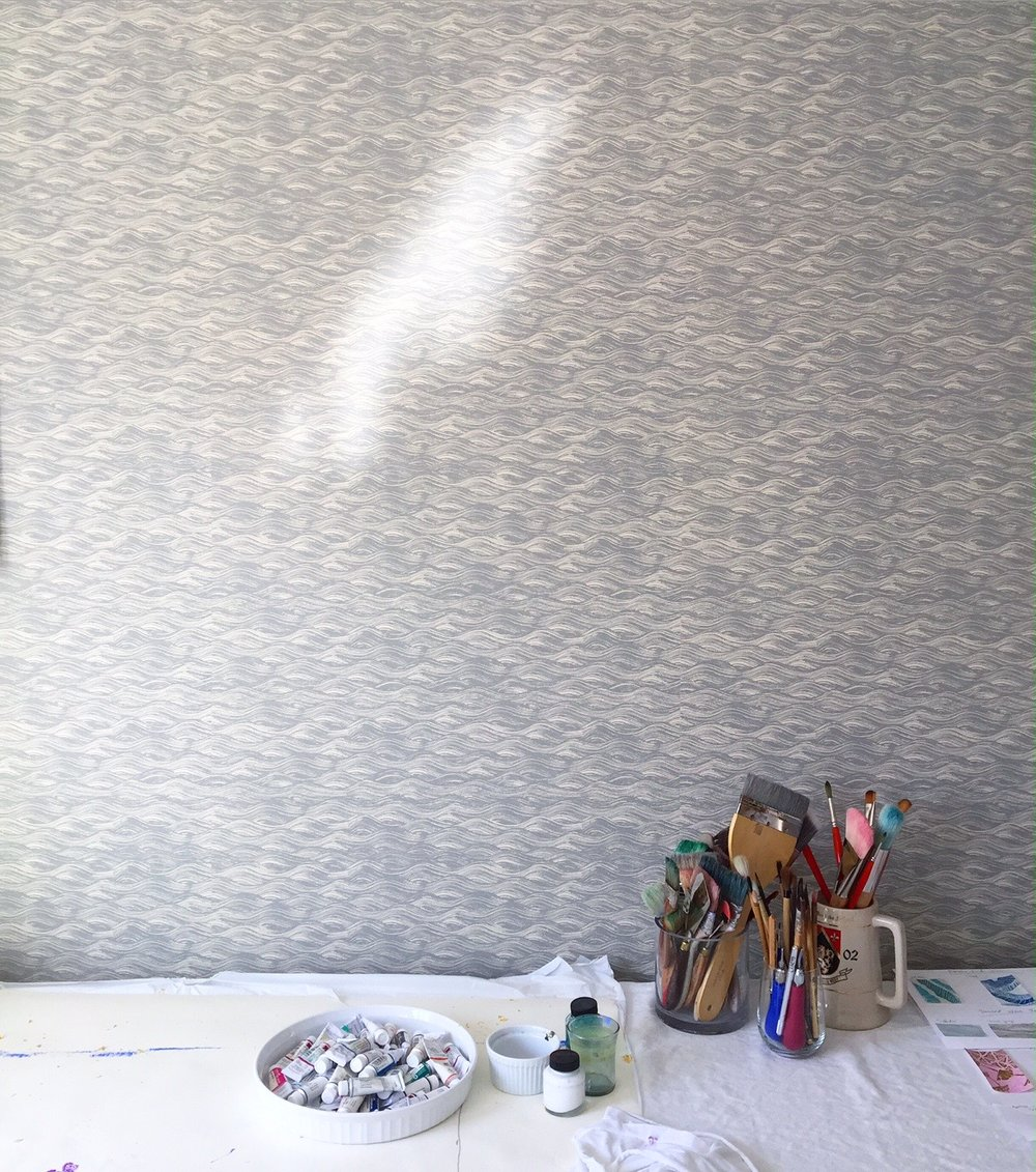Painted Wave Wallpaper in French Grey, Krane Home Studio