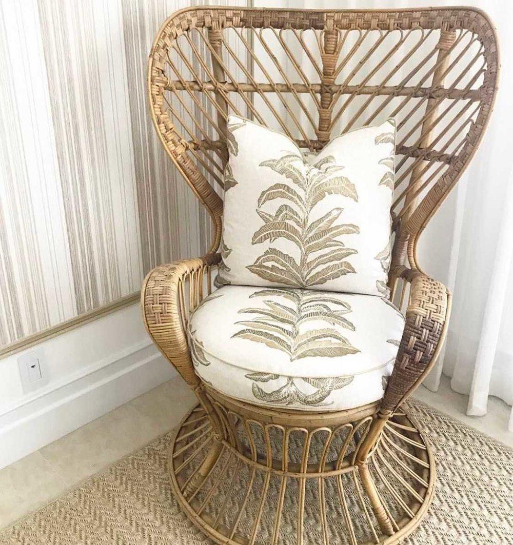 Banana Leaf Fabric in Gold, Interiors by Ellen Kavanaugh