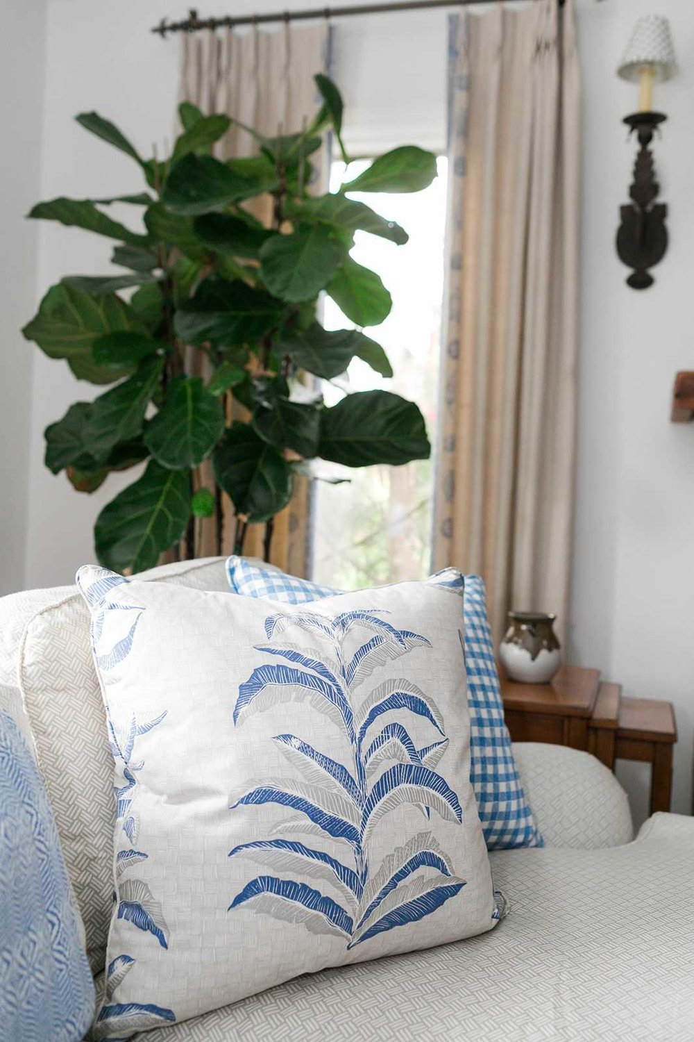Banana Leaf Pillow in Navy, Interiors by Sharon Lee, Photo by Mekina Saylor