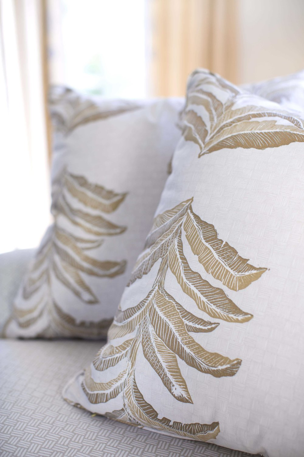 Banana Leaf Pillow in Gold
