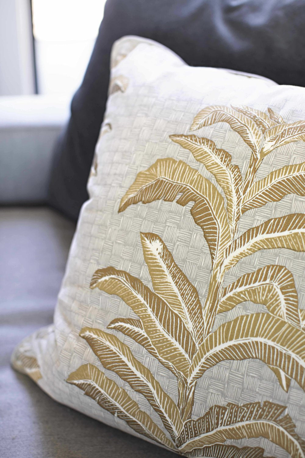 Banana Leaf Pillow in French Grey, Photo by Karyn Millet