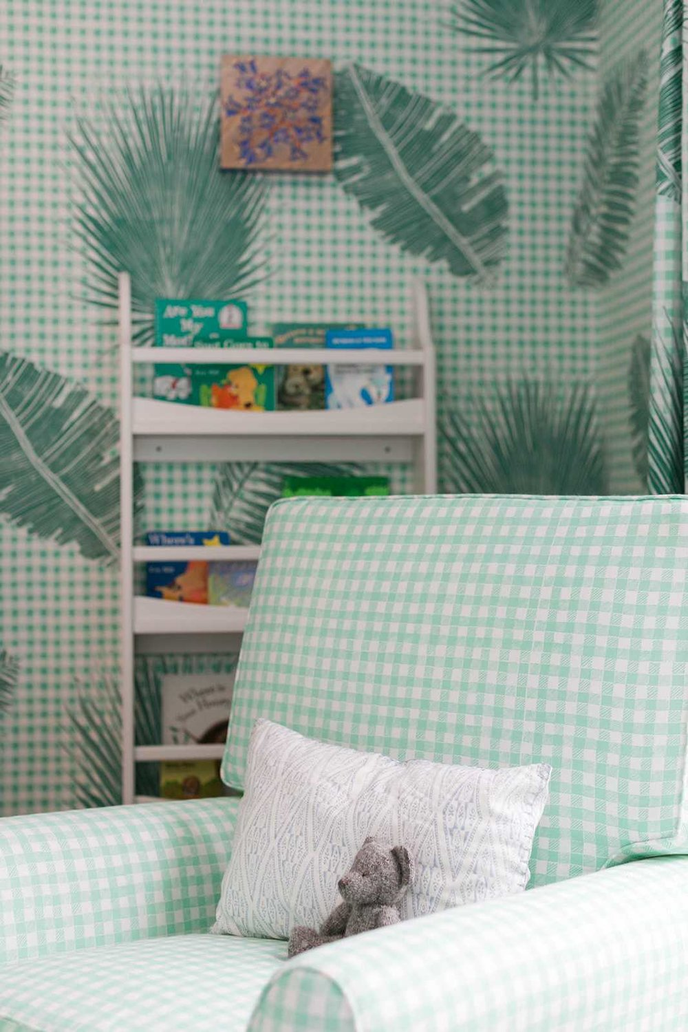 Block Print Gingham Fabric in Green