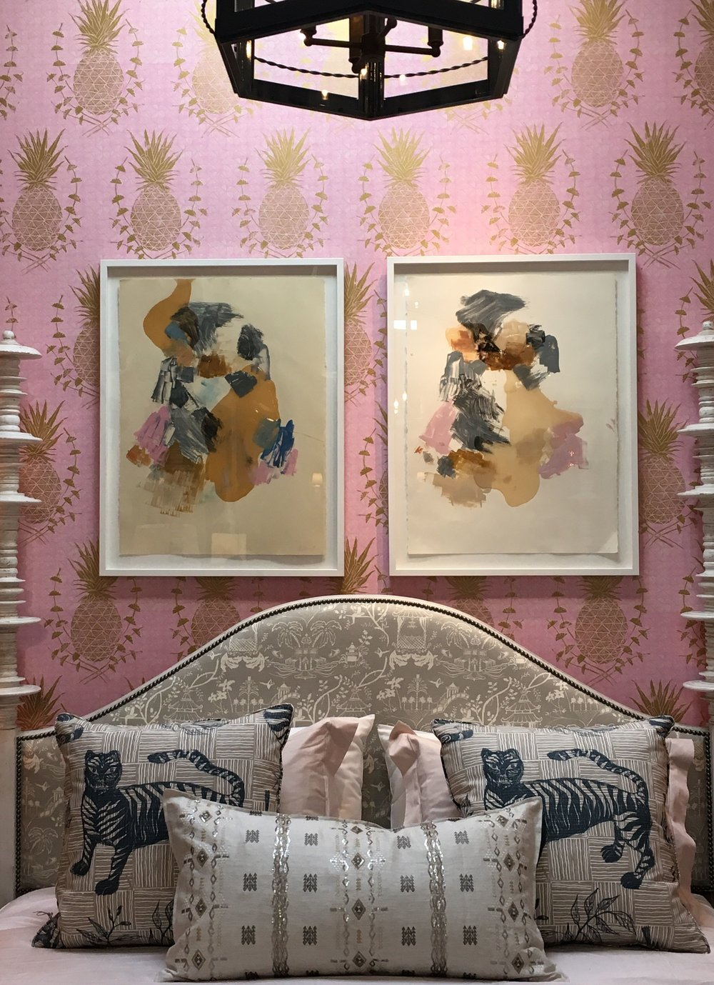 Tiger & Magpie Pillows in Deep Blue and Royal Pineapple Wallpaper in Pink at Harbinger Showroom