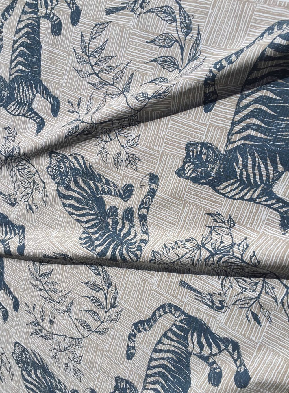 Tiger & Magpie Fabric in Deep Blue