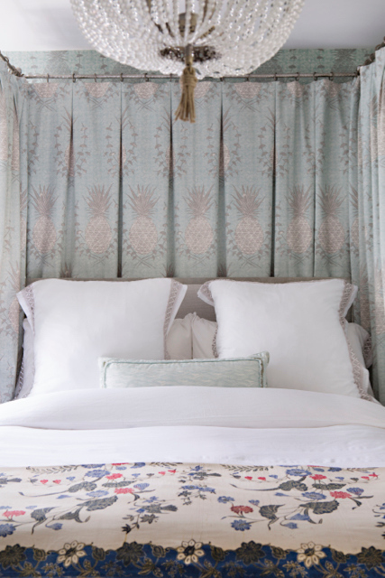 Royal Pineapple Fabric in Celadon on the Bed Hangings Master Bedroom Photo by Karyn Millet featured in House Beautiful