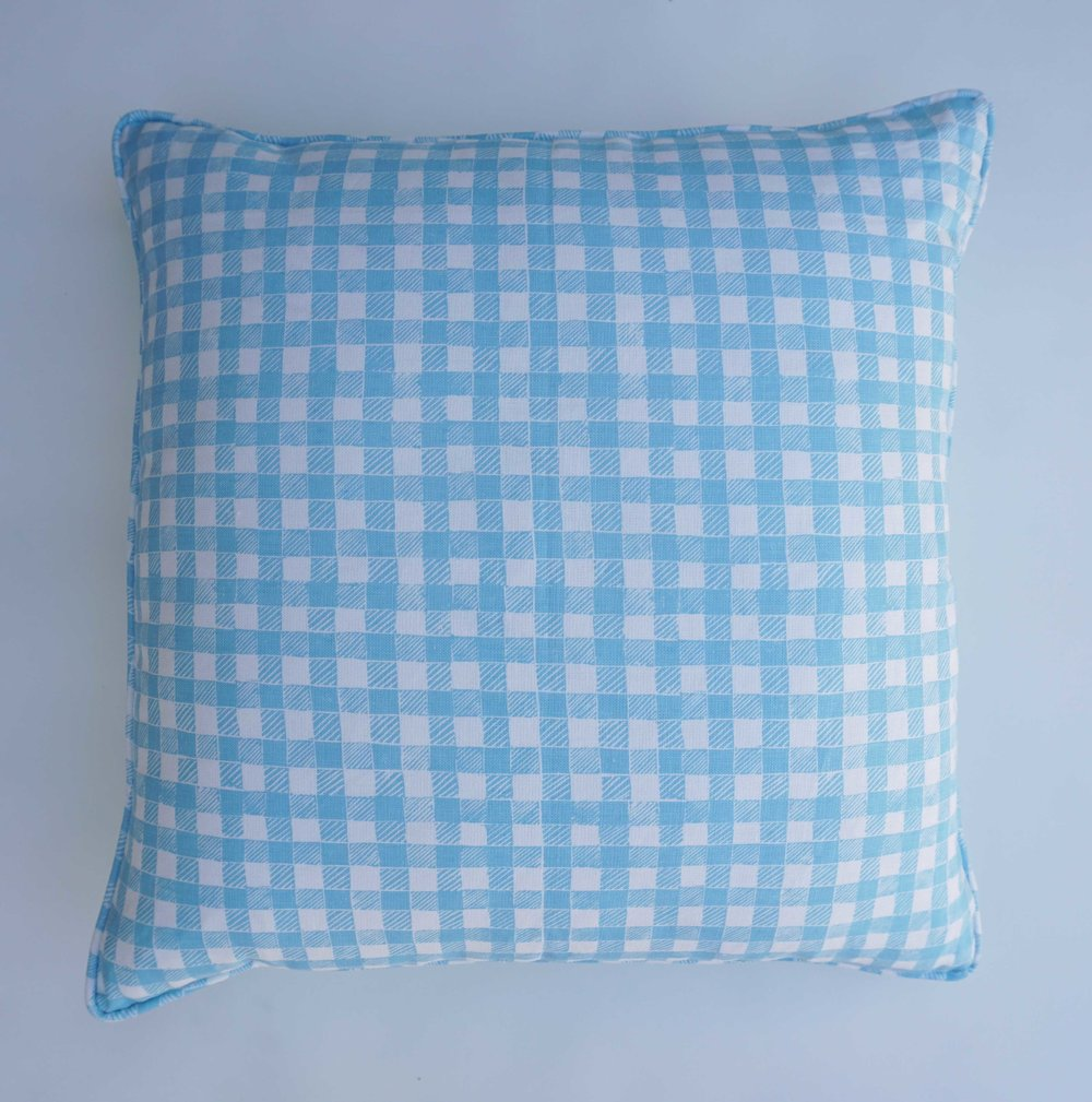 Block Print Gingham in Light Blue, SL250-03P