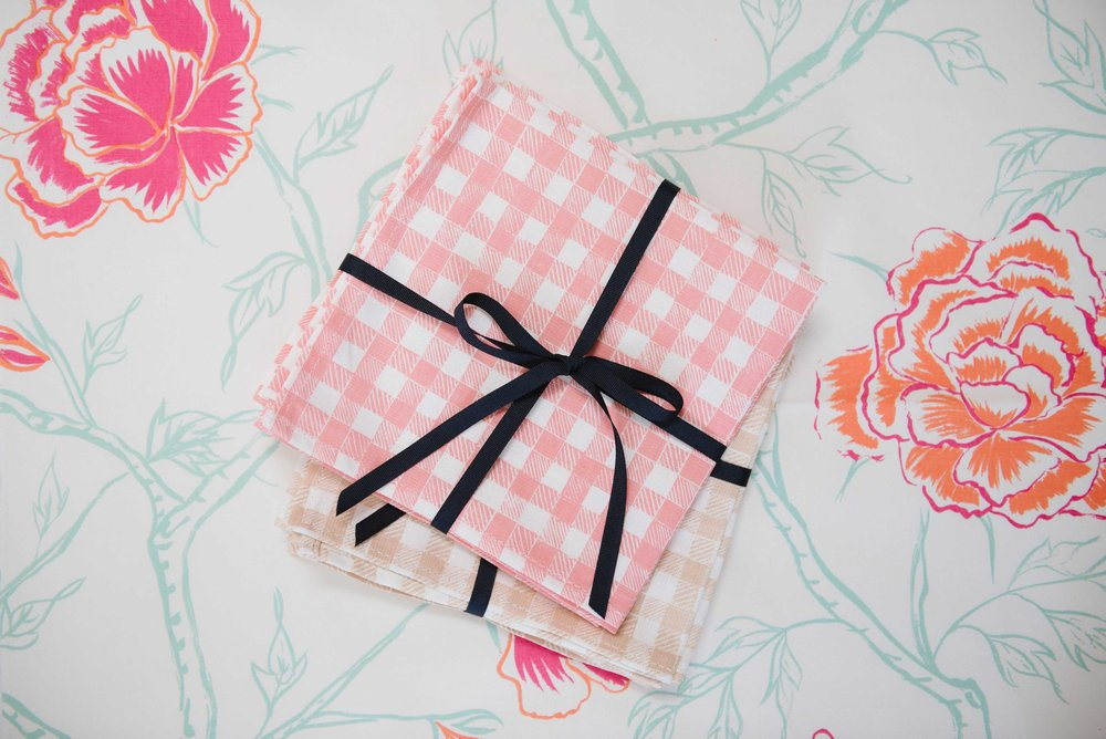 Block Print Gingham napkins in Pink + Beige, Photo by Emily Young
