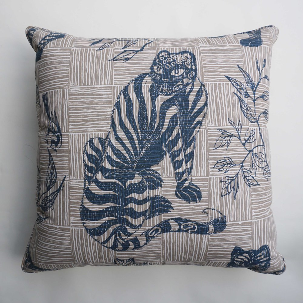 Sitting Tiger in Deep Blue
