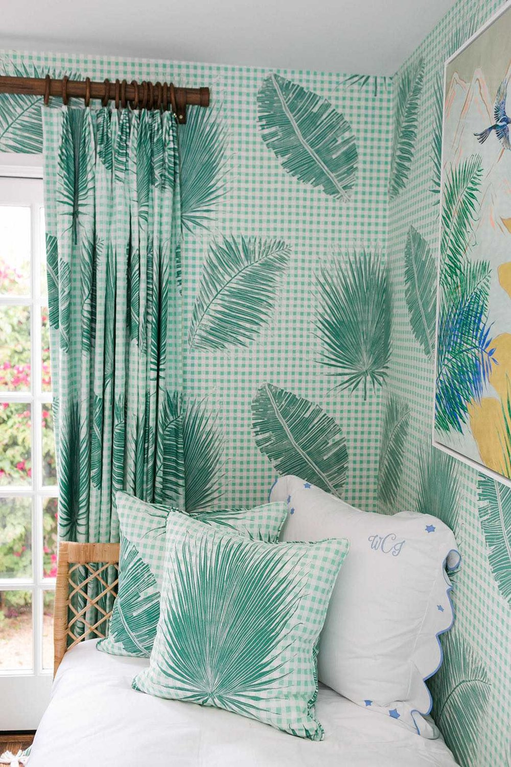 Gingham Jungle pillows, fabric, and wallpaper in Jade
