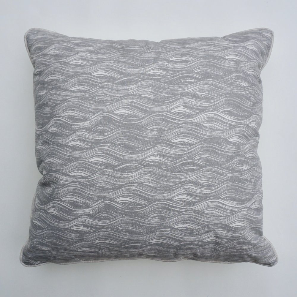 Painted Wave pillow in French Grey, KF160-02P
