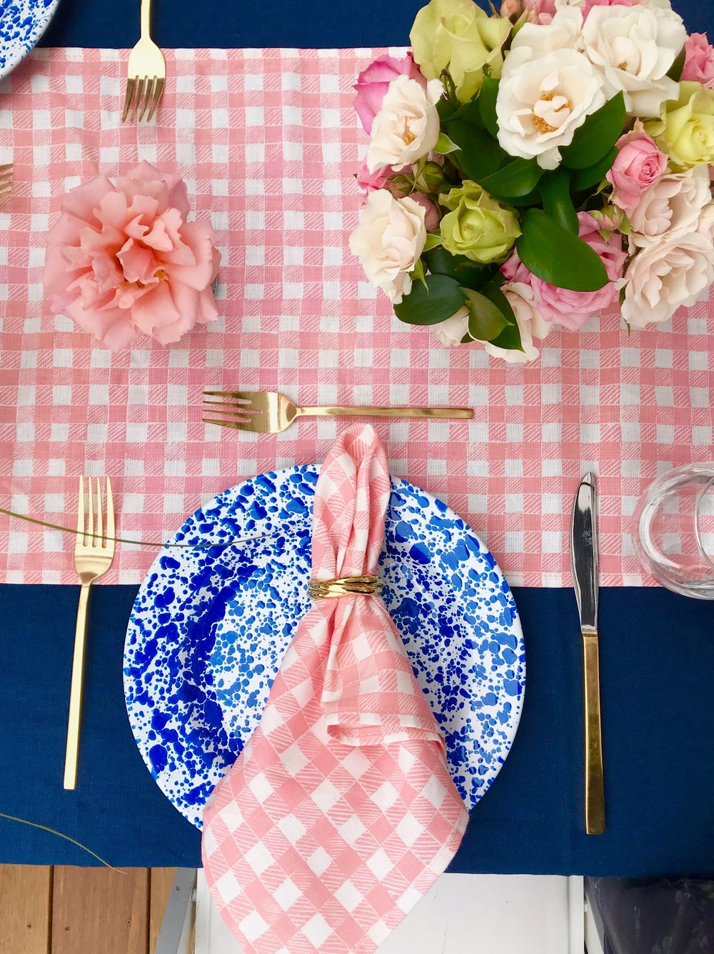 Block Print Gingham napkins in Pink, Florals and Styling by Darlington Avenue