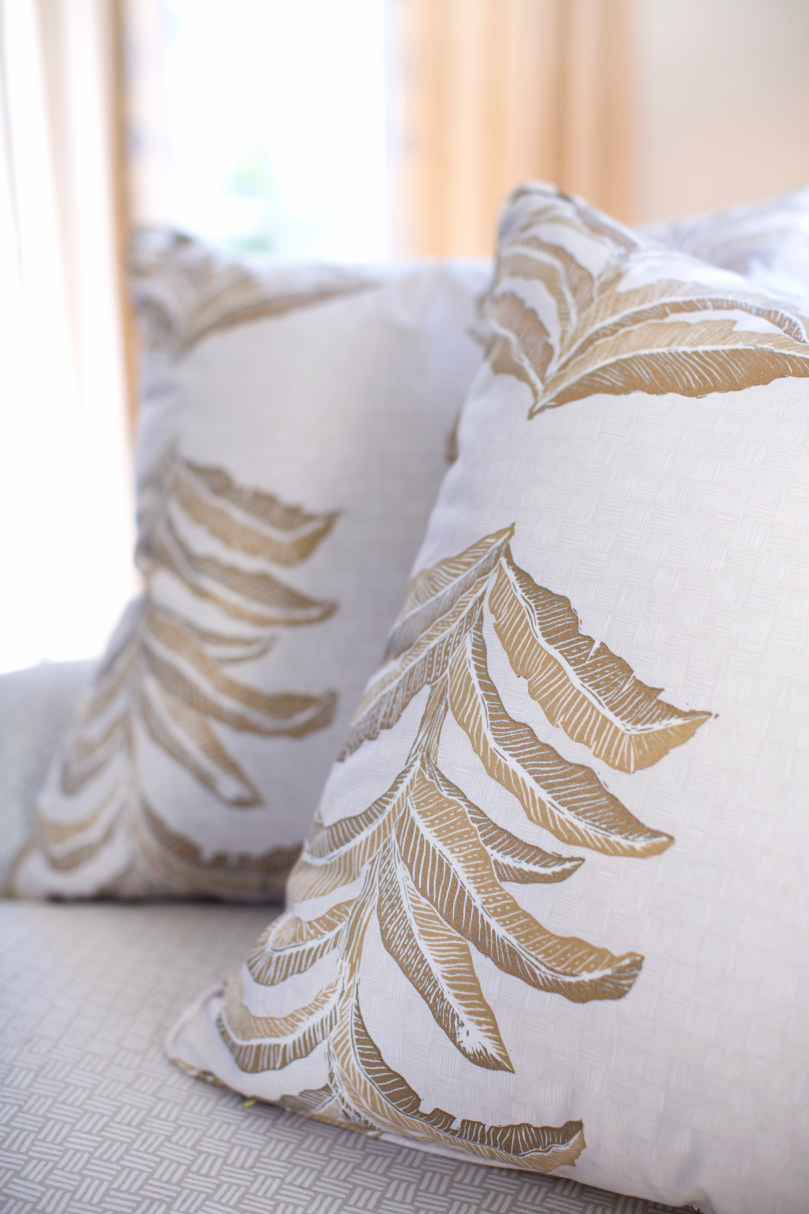 Banana Leaf Pillows in Gold, Photo by Karyn Millet