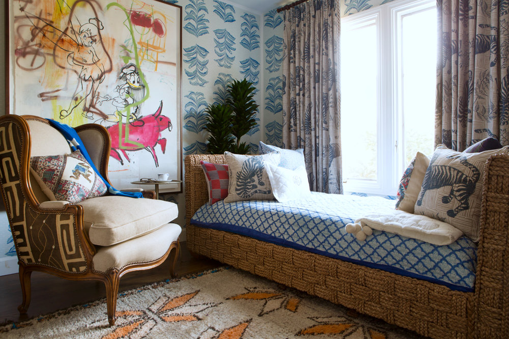 Tiger & Magpie Pillows in Deep Blue, Interiors by Sharon Lee, Featured in House Beautiful, Photo by Karyn Millet