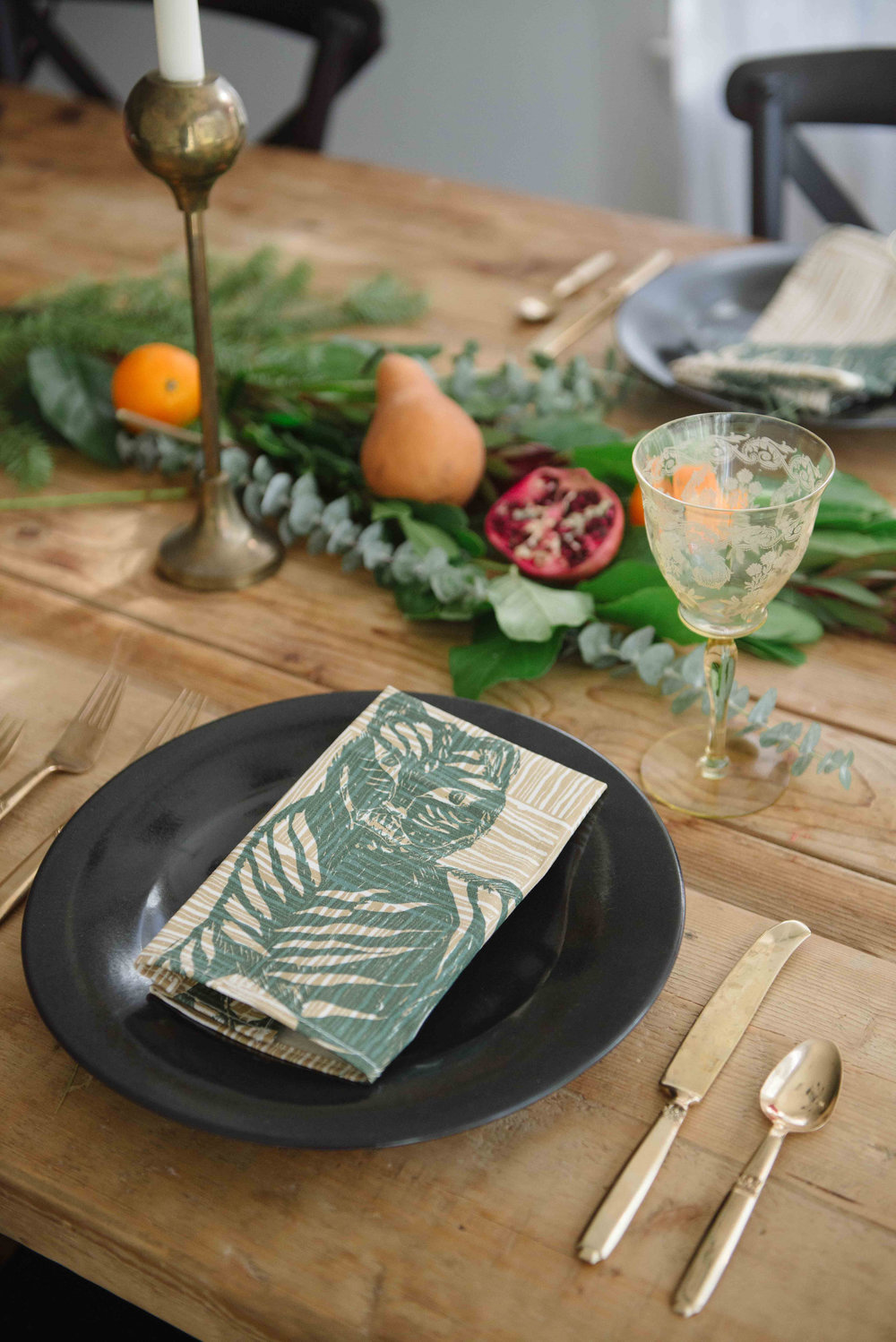 Tiger & Magpie Napkin in Hunter, Photo by Emily Young