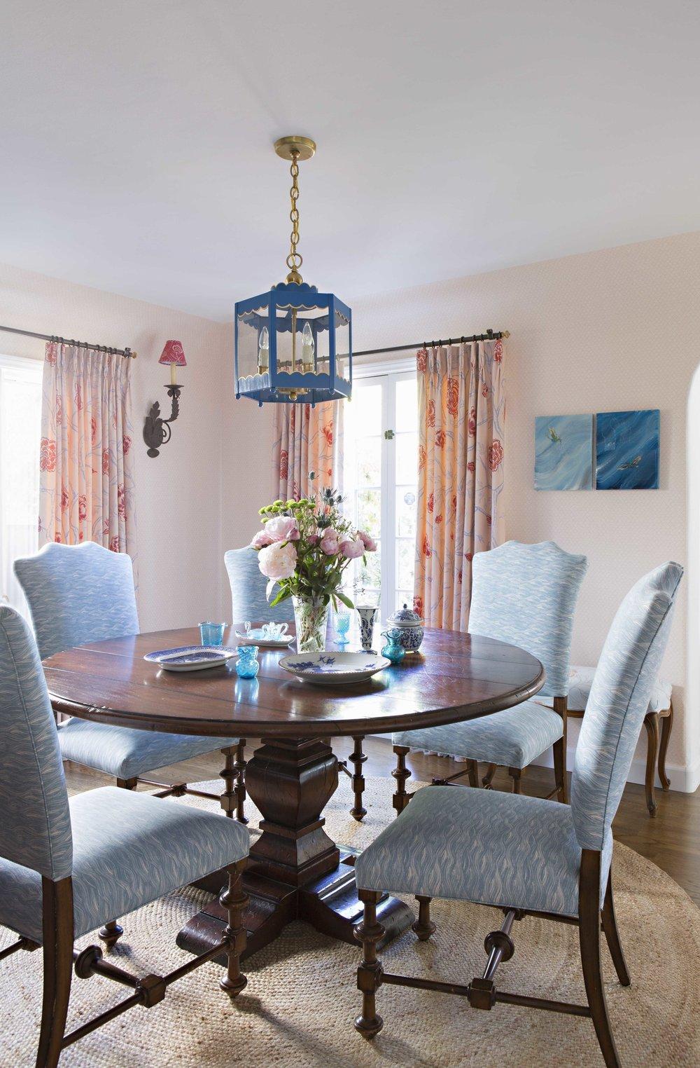 Basketweave Wallpaper in Blush in Sharon's Dining Room