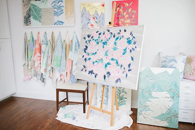 This is a photo of my studio and one of my most prized possessions...my lucky drop cloth 🌟 Just finished a group of paintings for @addesignshow NYC in March and I'm so excited to show you. #artstudio #art #artist #inthestudio #paintings #wallpaper #fabric