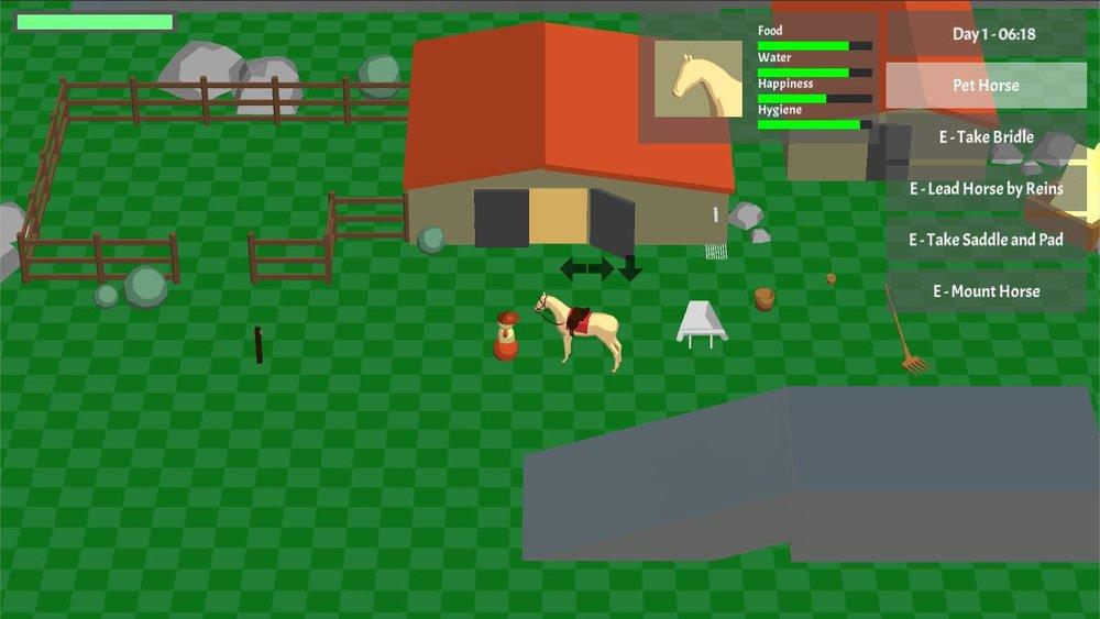 Current screenshot of the #horsegame prototype