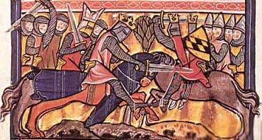 13th Century illustration of mounted combat. Note the knights' long, almost straight legs.