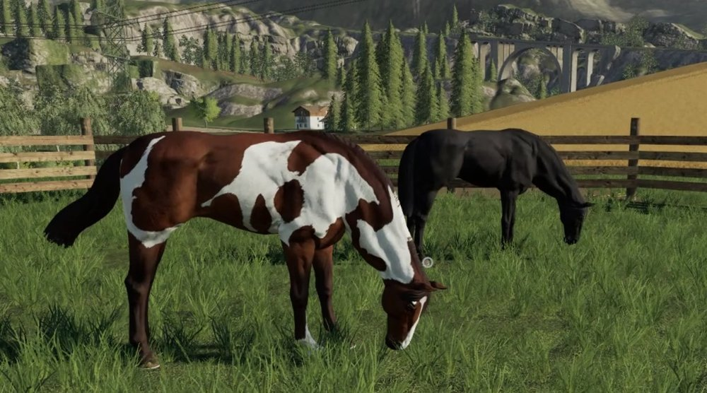 The neck has this weird bulge in it when the horses graze as a result of the slightly strange model and rig.