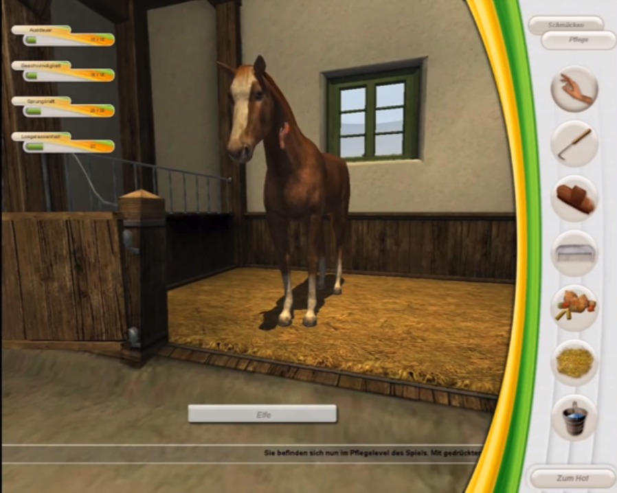 Horse care gameplay