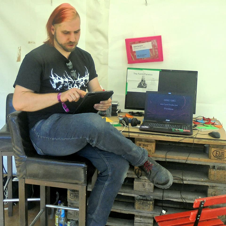 Jörg at AMAZE 2018, a game developer convention he attended in order to showcase his new project  The Fermi Paradox.