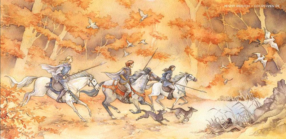 Tolkien-inspired Watercolor artwork by    Jenny Dolfen