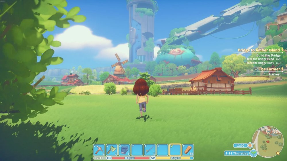 My Time at Portia takes place in a rather colorful post-apocalypse and its landscapes are pretty to look at.