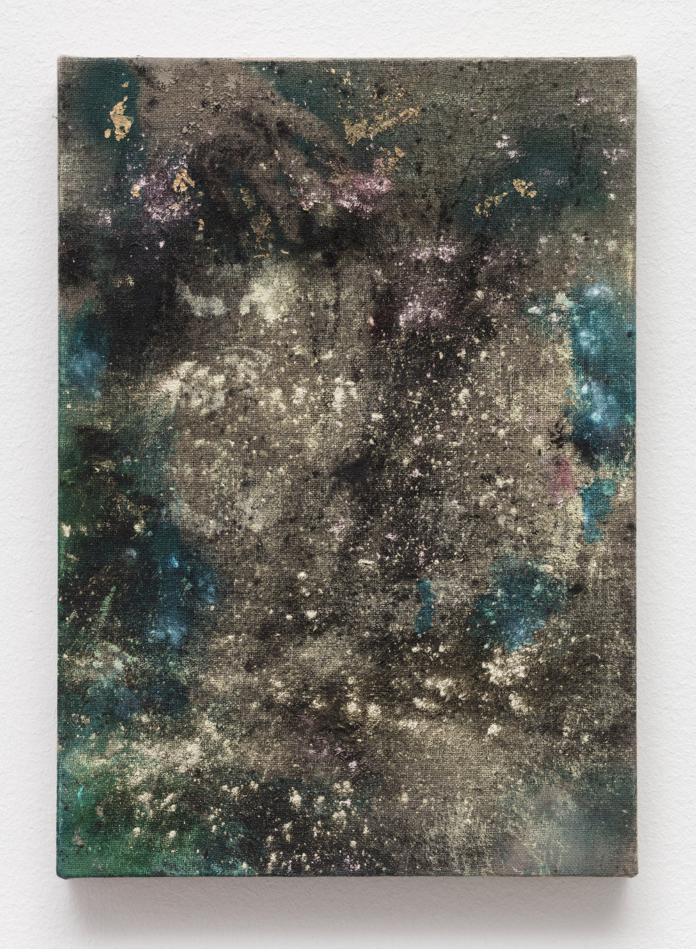 Universal Accidental , Flashe, mica, acrylic, gold leaf and charcoal on linen, 13 x 8 inches, 2016