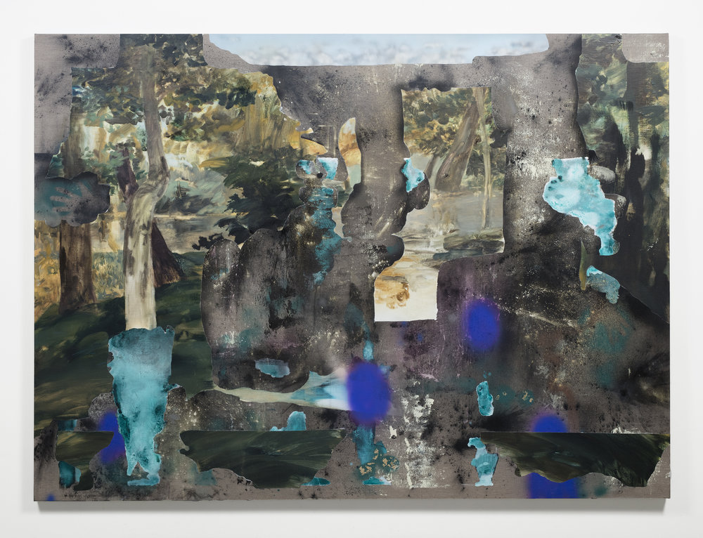 When You're Here and There,  oil, flashe, charcoal, mica, enamel on linen, 2016