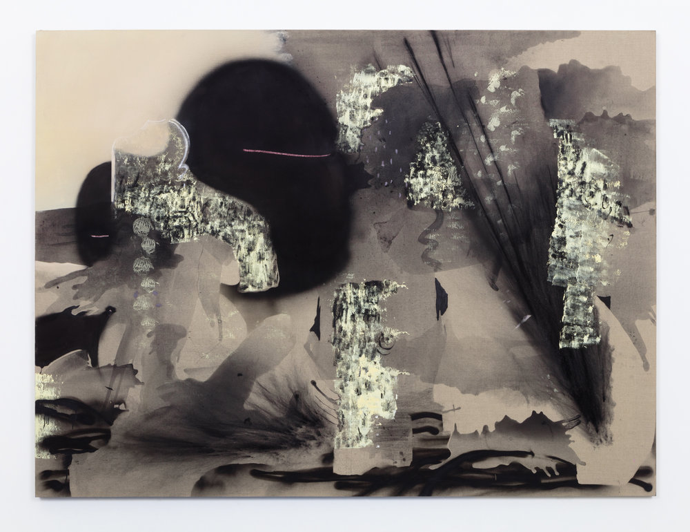 History Never,  oil, flashe, charcoal, acrylic and spray paint on linen, 72 x 96 inches, 2015