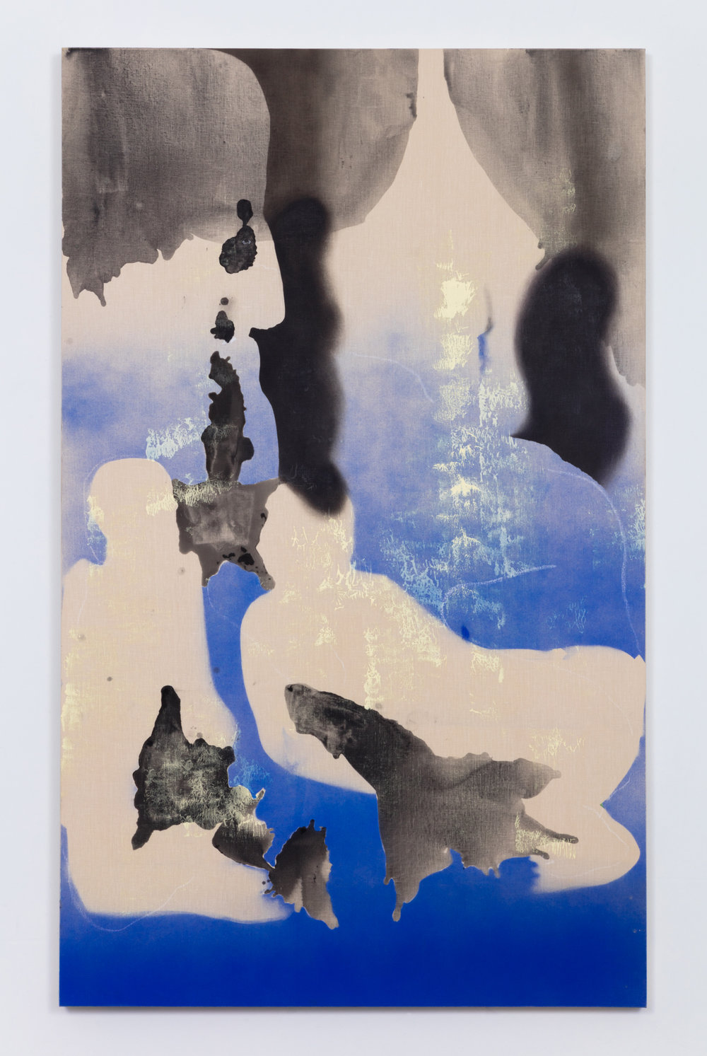 Smoke,  oil, flashe, charcoal and acrylic on white linen, 82 x 50 inches, 2015