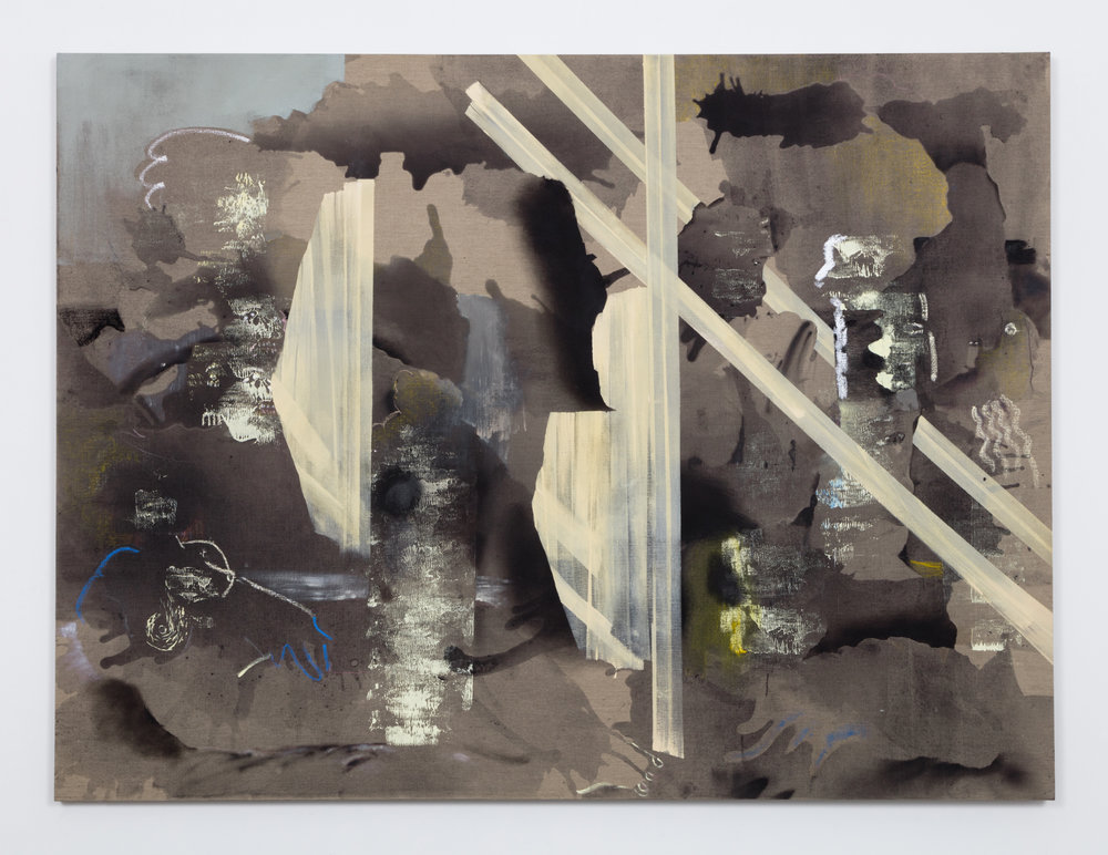 Solid States and Tape,  oil, oil stick flashe, charcoal, acrylic and spray paint on linen, 72 x 96 inches, 2015
