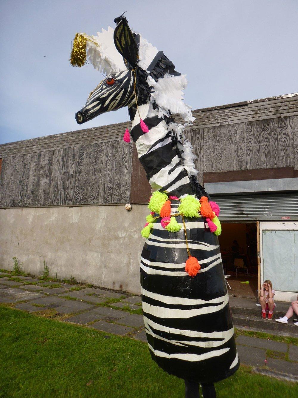 Platform carnival parade wild extendable zebra