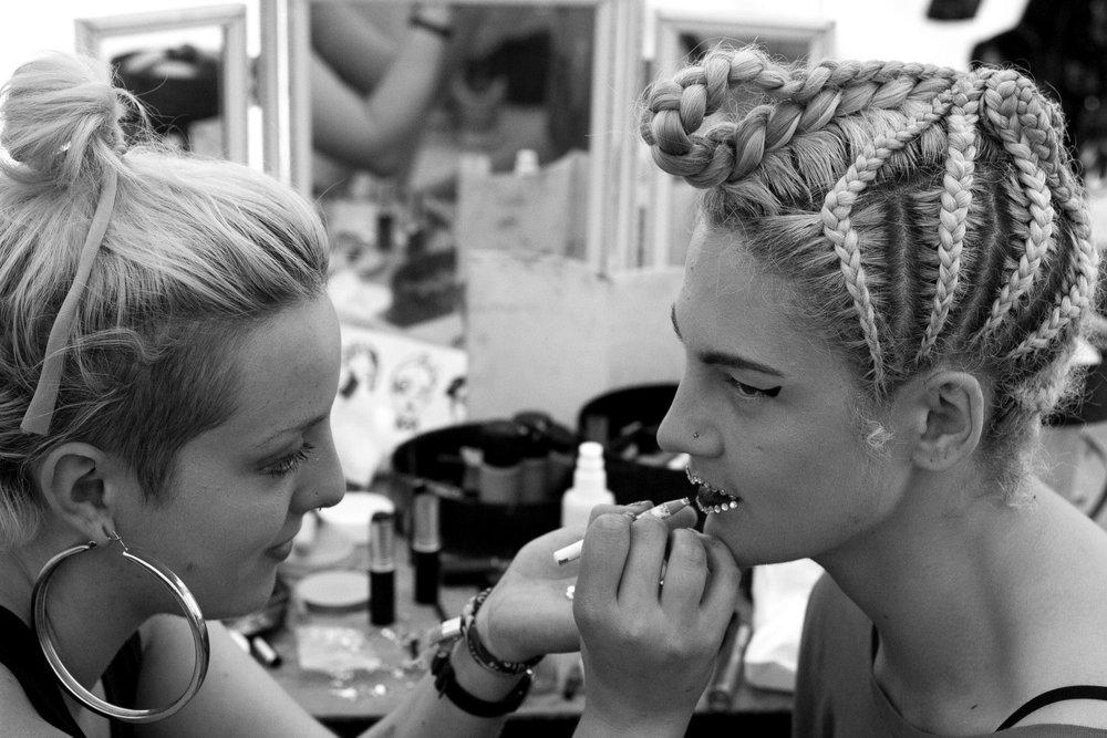 Backstage with performer Laura Murphy, 2014.  Image Nadia Otshudi