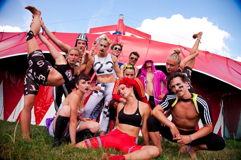 Bassline Circus Performers tent side, 2014.  Image Nadia Otshudi