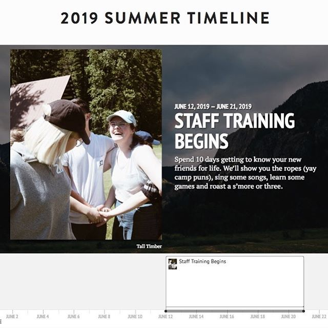 Hi!! Are you curious about what a summer looks like logistically for a summer staffer?? Take a peek at our new staff site and 2019 summer timeline!  Link in bio.  P.S. how cute is lily in this photo??