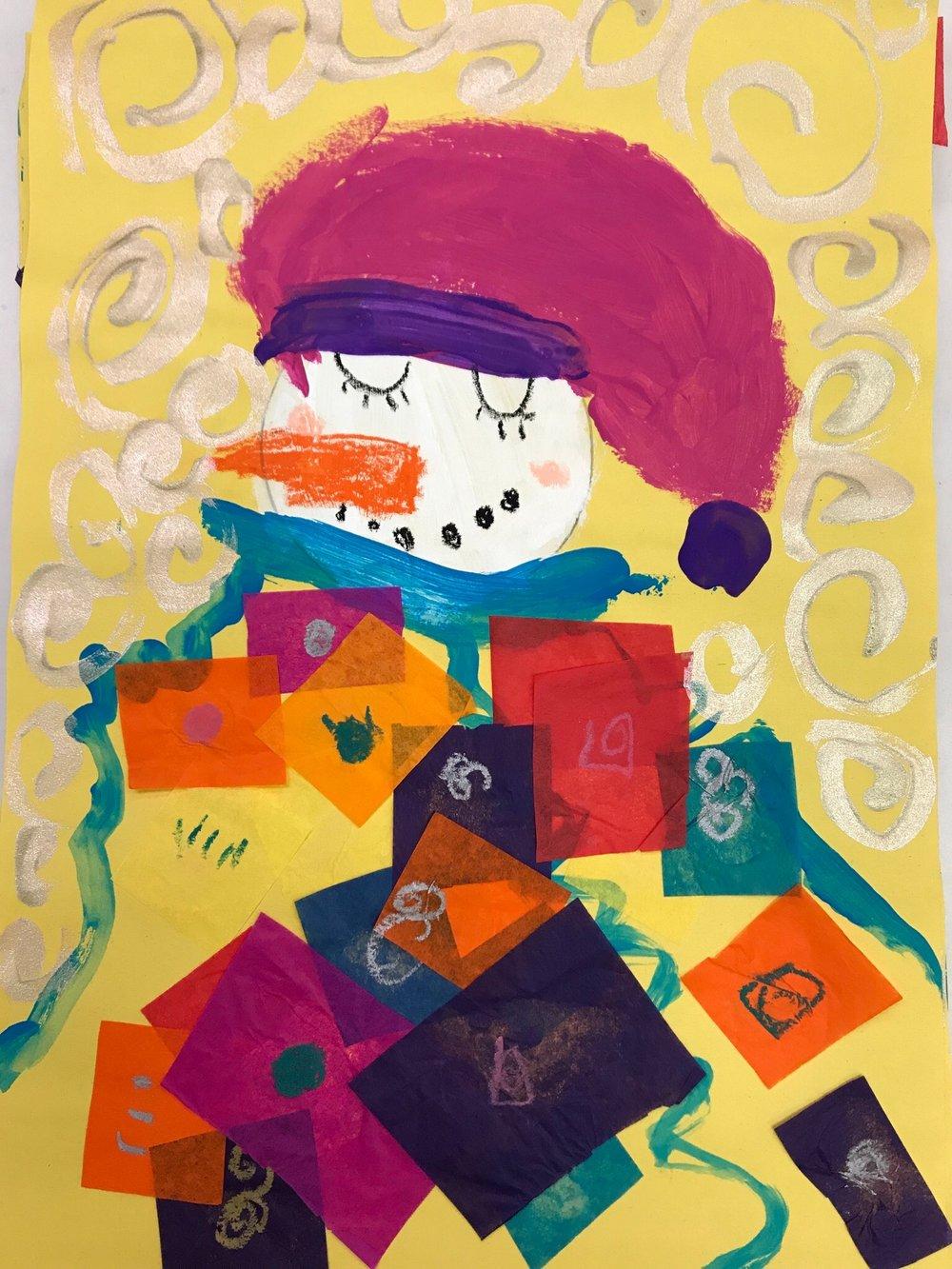 Klimt inspired snowman by a kindergarten student.