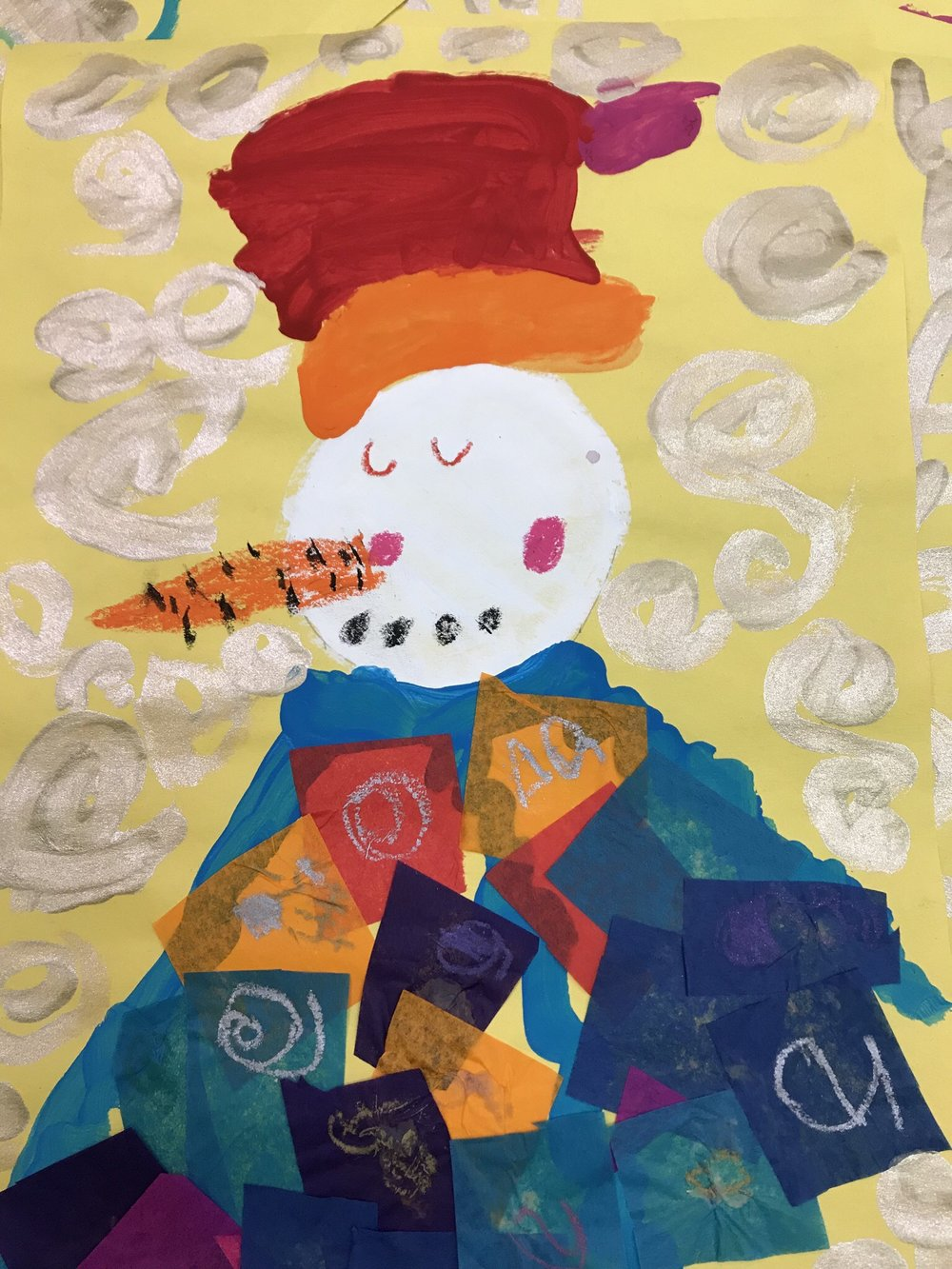 Klimt inspired snowman from a kindergarten student.