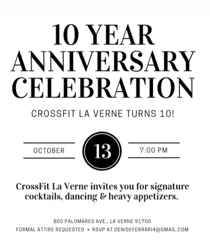 Tomorrow is the last day to RSVP for the 10 year Anniversary Party this Saturday! Email Dee-nice or sign up at the front desk