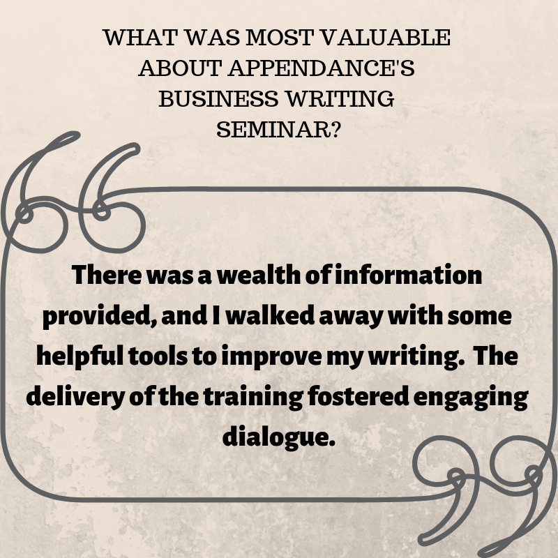 There was a wealth of information provided, and I walked away with some helpful tools to improve my writing. The delivery of the training fostered engaging dialogue..png