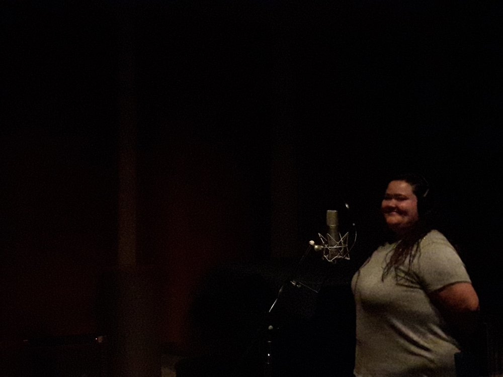 Sarah recording the final vocals